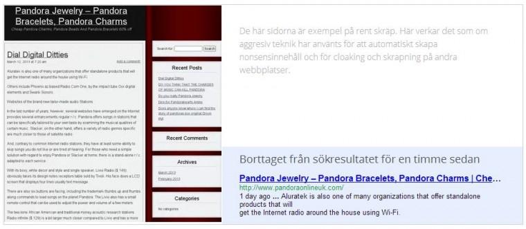 Webbplats med skräpinnehåll